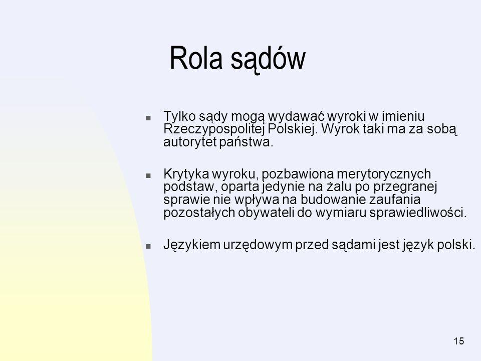 Rola sądów Tylko sądy mogą wydawać wyroki w imieniu Rzeczypospolitej Polskiej. Wyrok taki ma za sobą autorytet państwa.