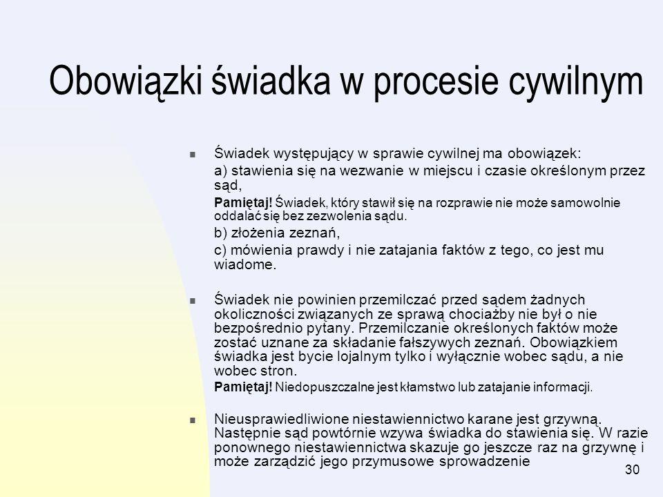 Obowiązki świadka w procesie cywilnym