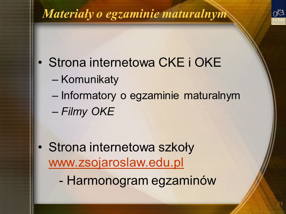 Materiały o egzaminie maturalnym