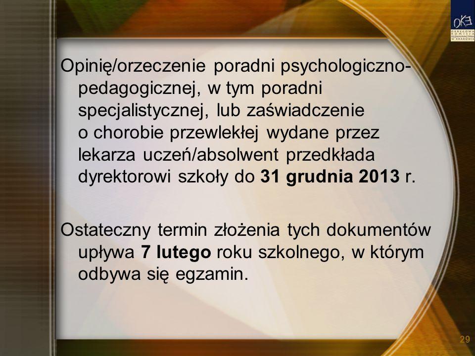 Opinię/orzeczenie poradni psychologiczno-pedagogicznej, w tym poradni specjalistycznej, lub zaświadczenie o chorobie przewlekłej wydane przez lekarza uczeń/absolwent przedkłada dyrektorowi szkoły do 31 grudnia 2013 r.