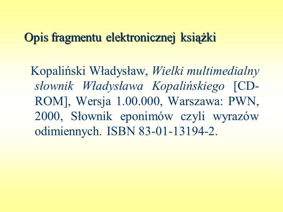 Opis fragmentu elektronicznej książki