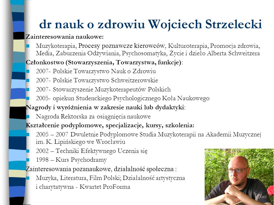 dr nauk o zdrowiu Wojciech Strzelecki