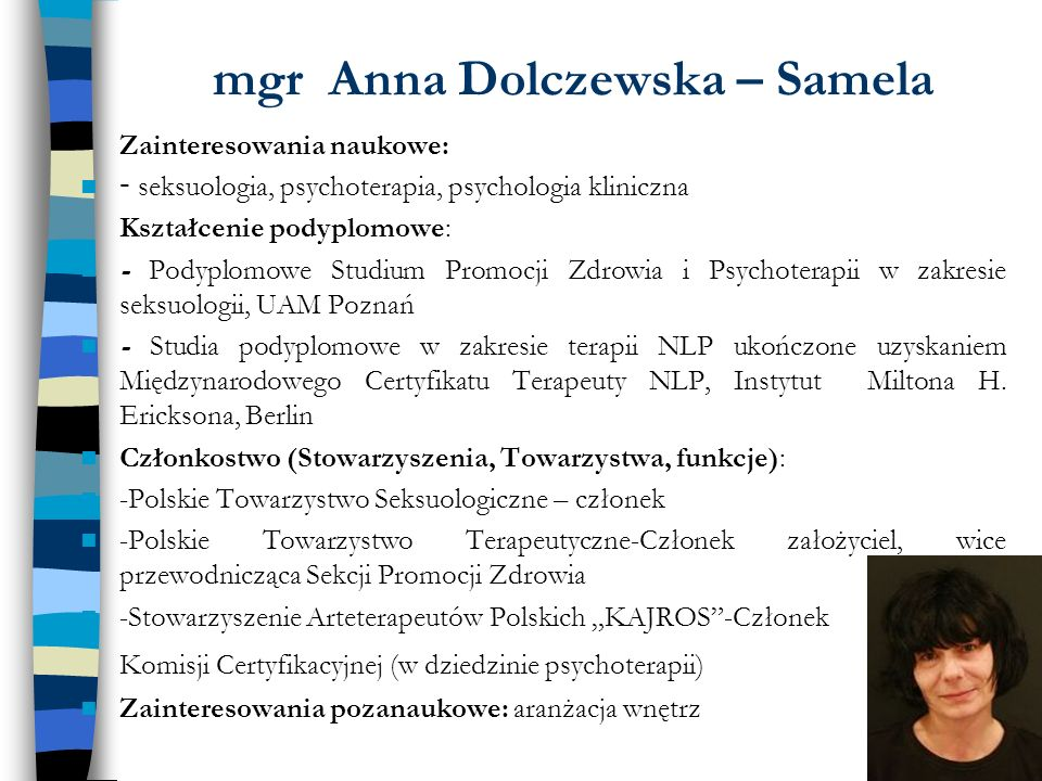 mgr Anna Dolczewska – Samela