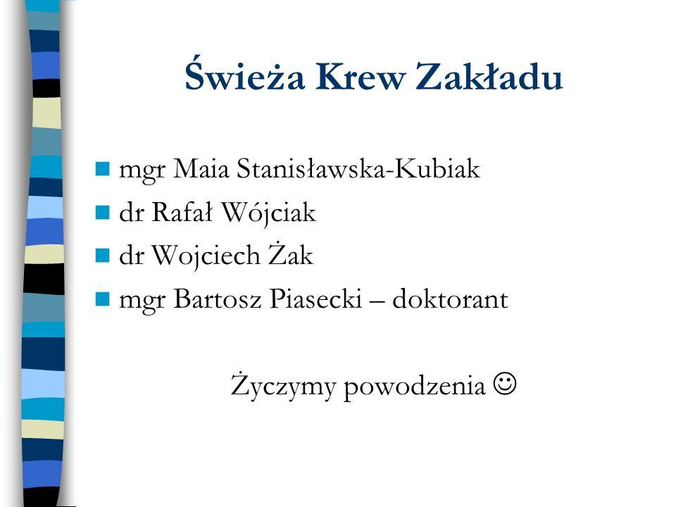 Świeża Krew Zakładu mgr Maia Stanisławska-Kubiak dr Rafał Wójciak