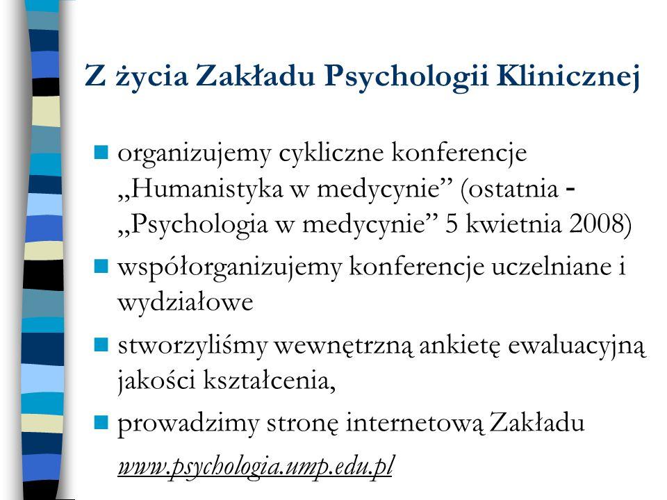 Z życia Zakładu Psychologii Klinicznej