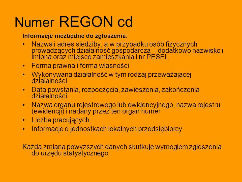 Numer REGON cd Informacje niezbędne do zgłoszenia: