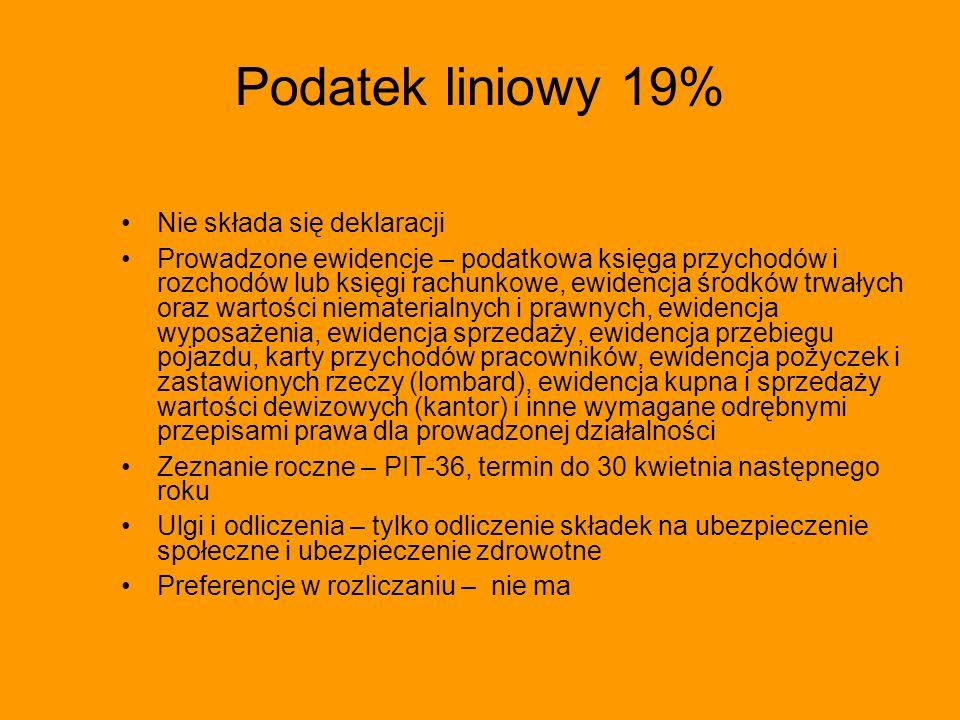 Podatek liniowy 19% Nie składa się deklaracji