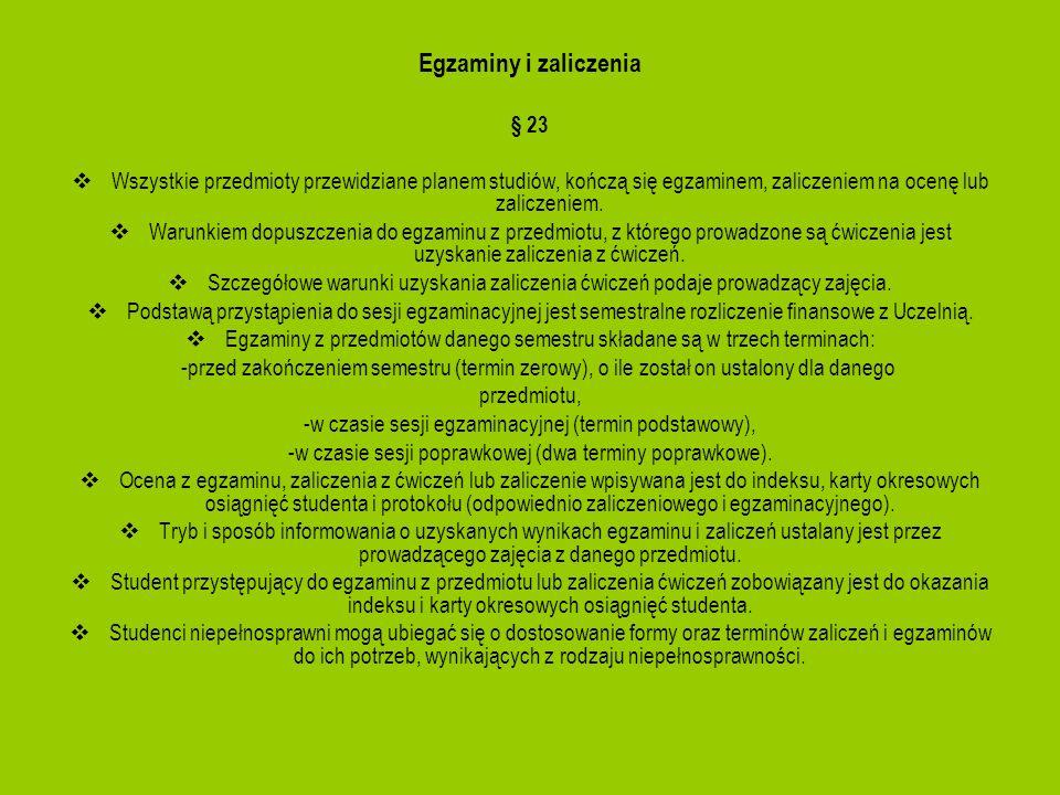 Egzaminy i zaliczenia § 23