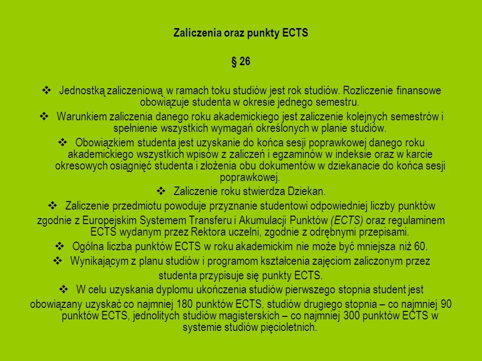 Zaliczenia oraz punkty ECTS