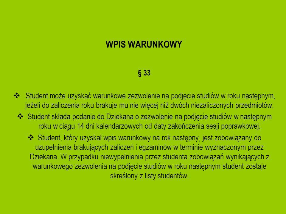 WPIS WARUNKOWY § 33.