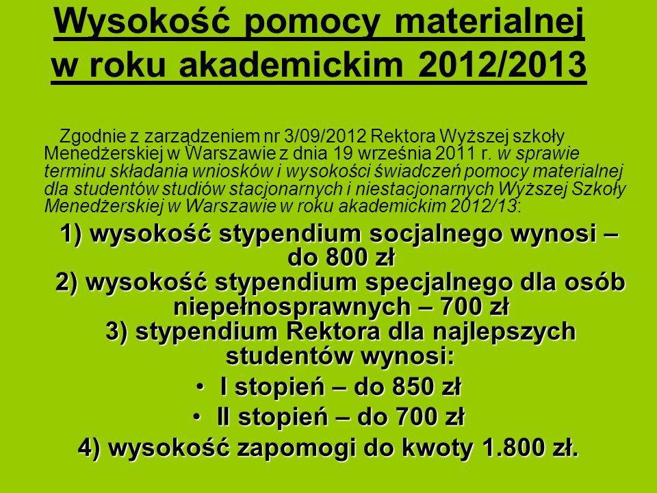 Wysokość pomocy materialnej w roku akademickim 2012/2013