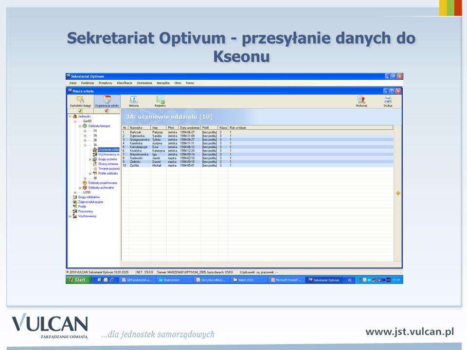 Sekretariat Optivum - przesyłanie danych do Kseonu