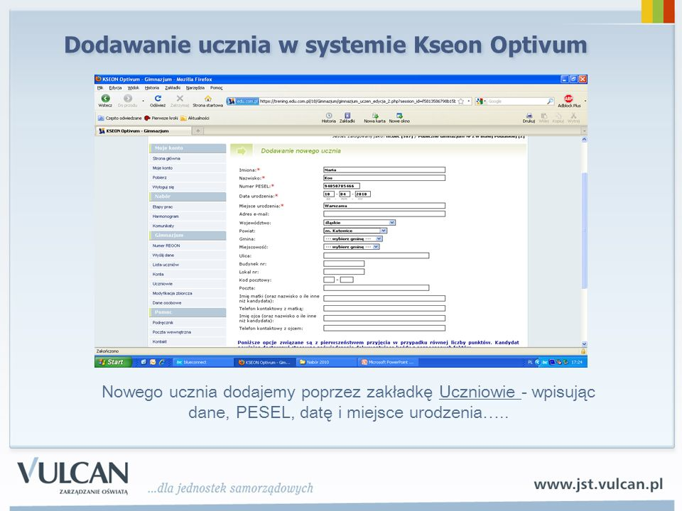 Dodawanie ucznia w systemie Kseon Optivum