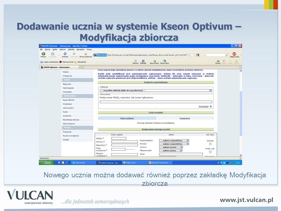 Dodawanie ucznia w systemie Kseon Optivum –Modyfikacja zbiorcza