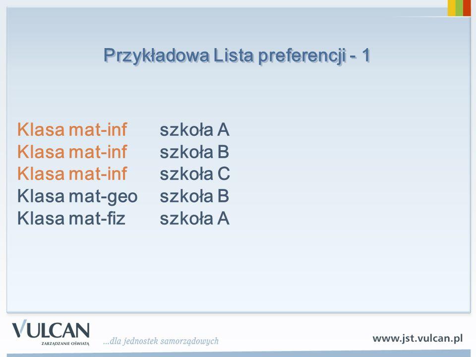 Przykładowa Lista preferencji - 1
