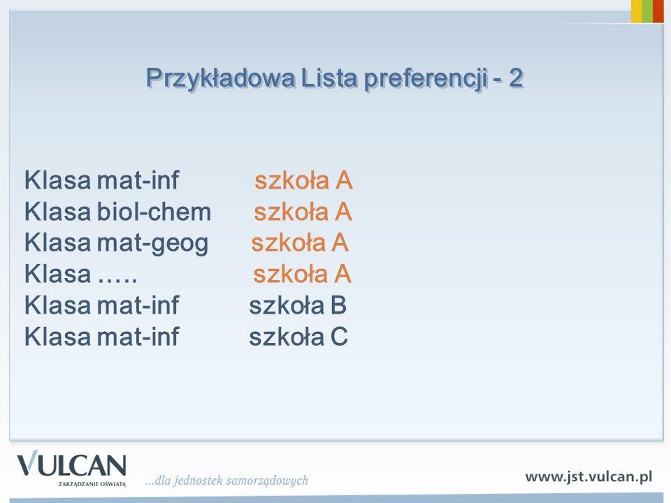 Przykładowa Lista preferencji - 2