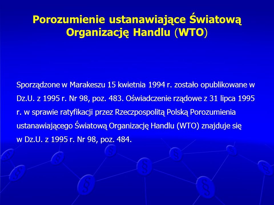 Porozumienie ustanawiające Światową Organizację Handlu (WTO)