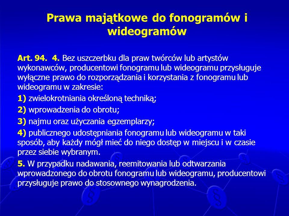 Prawa majątkowe do fonogramów i wideogramów