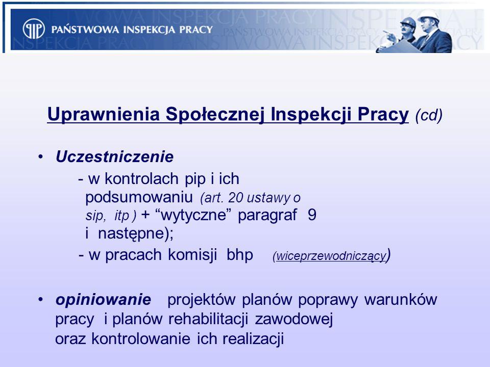 Uprawnienia Społecznej Inspekcji Pracy (cd)