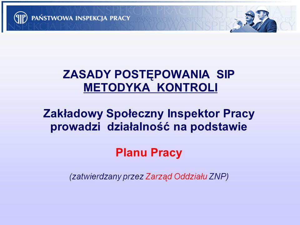 ZASADY POSTĘPOWANIA SIP METODYKA KONTROLI Zakładowy Społeczny Inspektor Pracy prowadzi działalność na podstawie Planu Pracy (zatwierdzany przez Zarząd Oddziału ZNP)