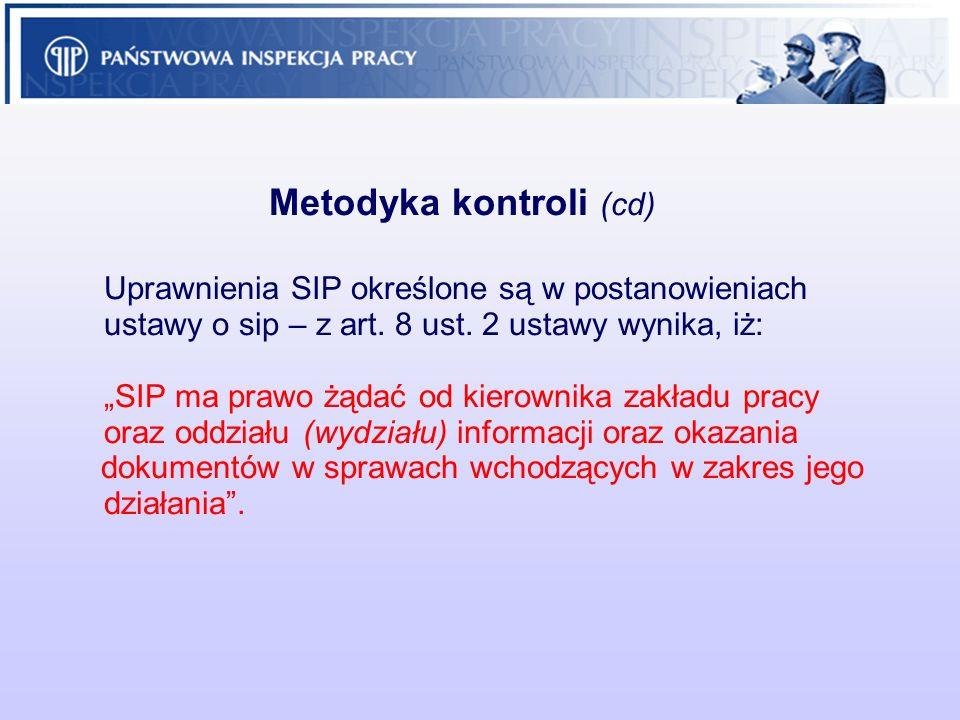 Metodyka kontroli (cd). Uprawnienia SIP określone są w postanowieniach