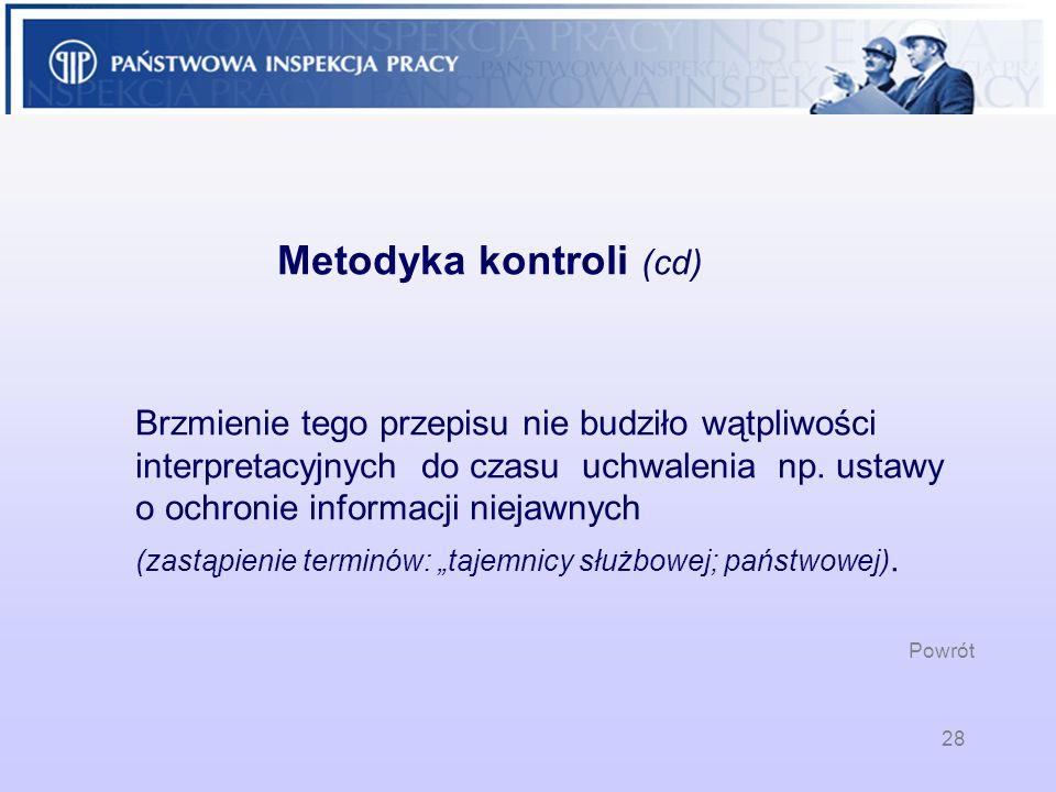 Metodyka kontroli (cd)