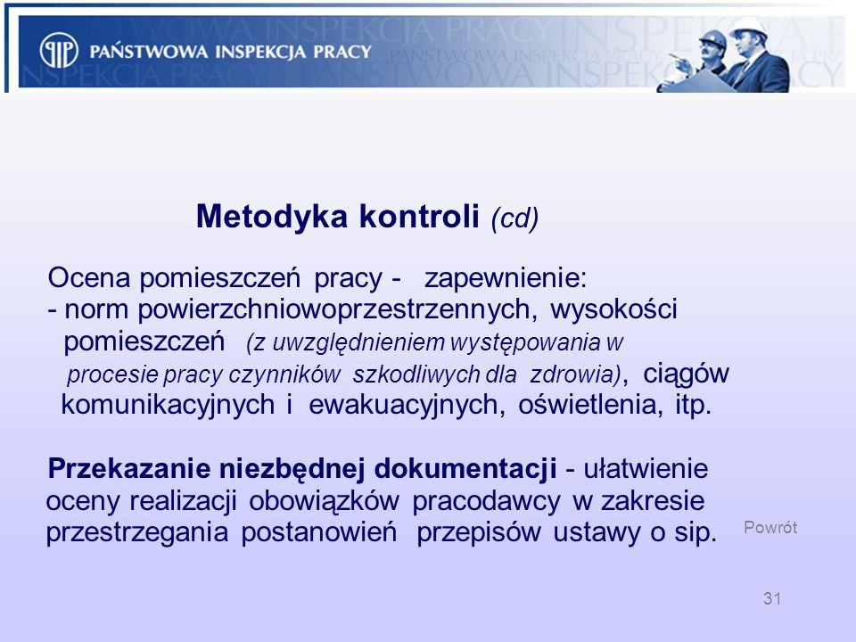 Metodyka kontroli (cd). Ocena pomieszczeń pracy - zapewnienie: