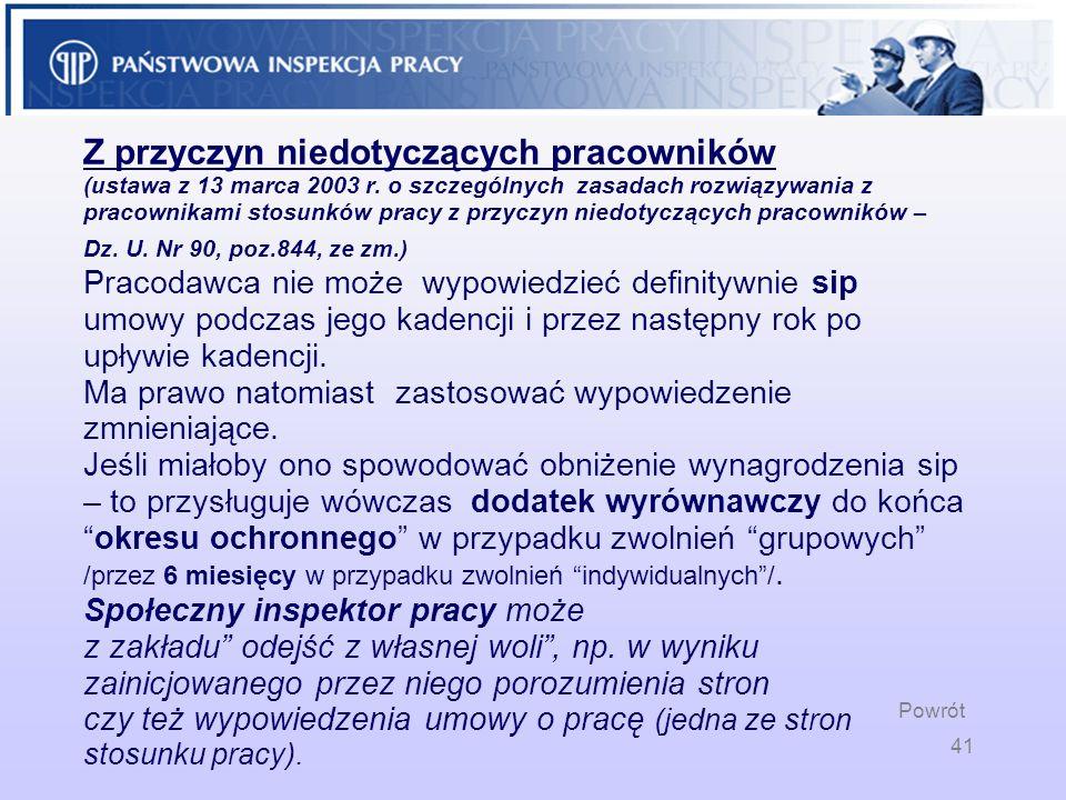 Z przyczyn niedotyczących pracowników (ustawa z 13 marca 2003 r