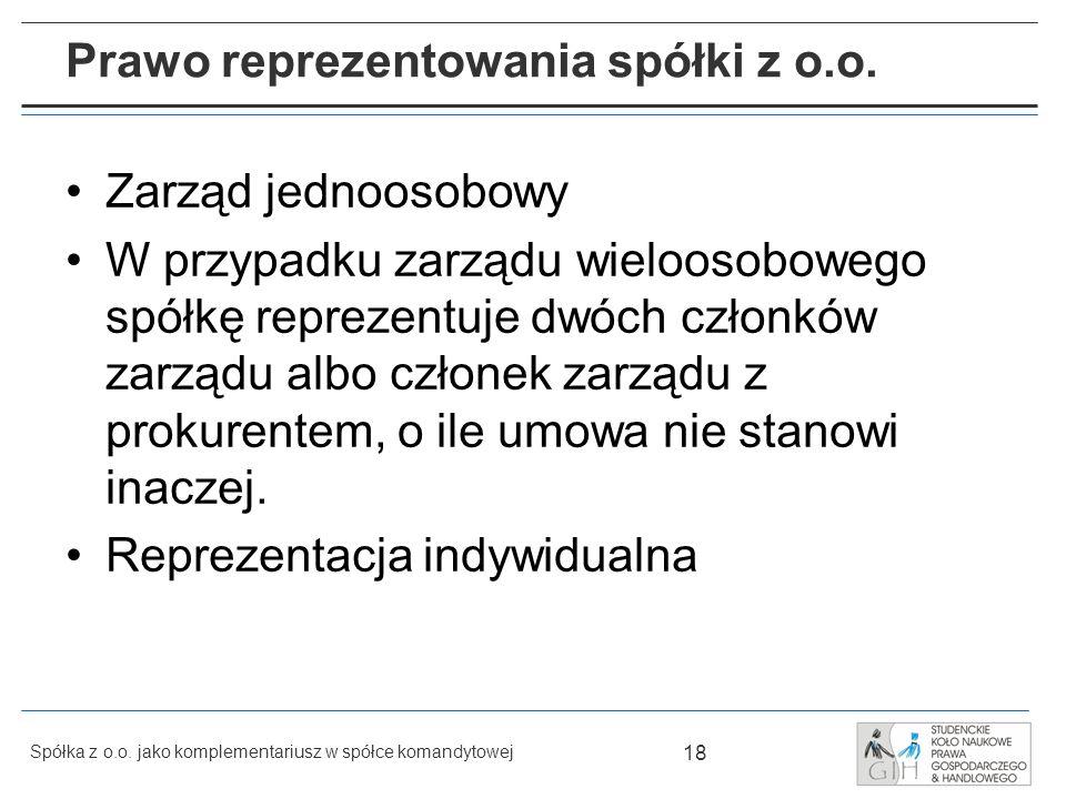 Prawo reprezentowania spółki z o.o.