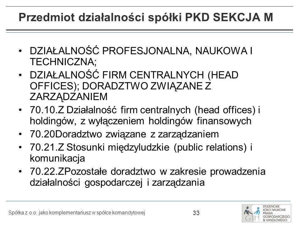 Przedmiot działalności spółki PKD SEKCJA M