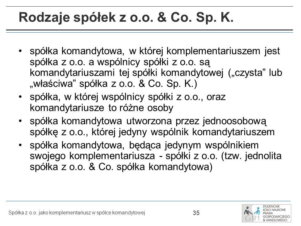 Rodzaje spółek z o.o. & Co. Sp. K.