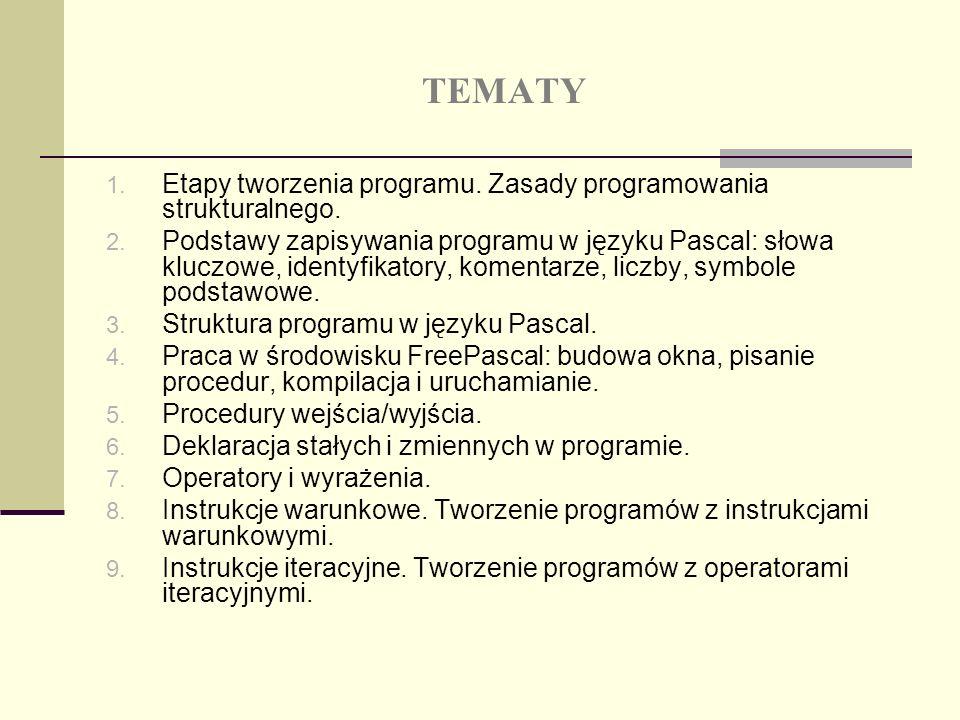 TEMATY Etapy tworzenia programu. Zasady programowania strukturalnego.