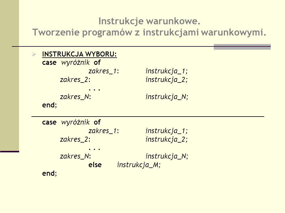 Instrukcje warunkowe. Tworzenie programów z instrukcjami warunkowymi.