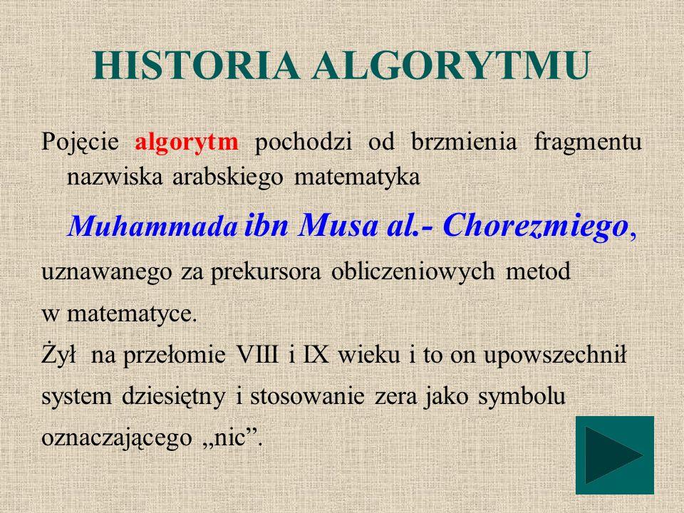 HISTORIA ALGORYTMU Pojęcie algorytm pochodzi od brzmienia fragmentu nazwiska arabskiego matematyka.