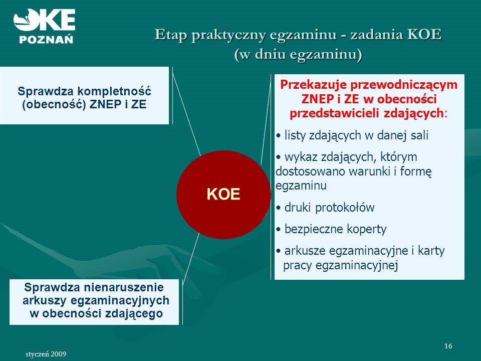 Etap praktyczny egzaminu - zadania KOE (w dniu egzaminu)
