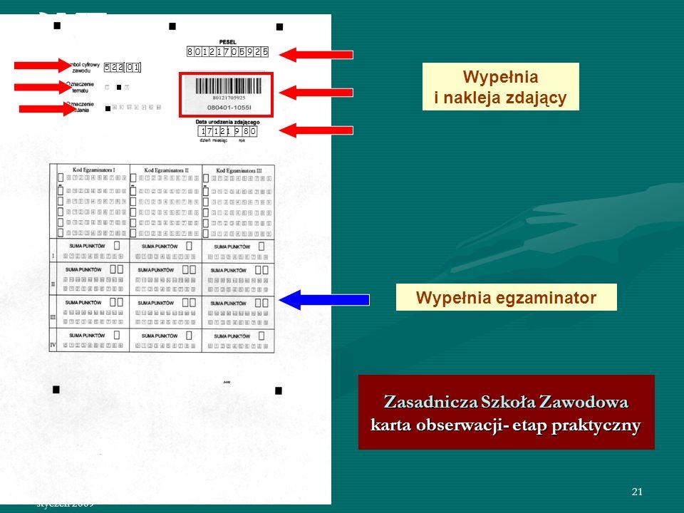 Zasadnicza Szkoła Zawodowa karta obserwacji- etap praktyczny