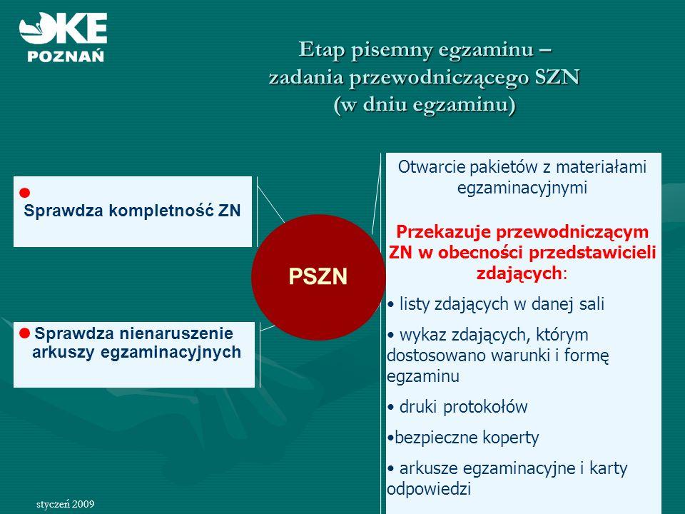 Etap pisemny egzaminu – zadania przewodniczącego SZN (w dniu egzaminu)