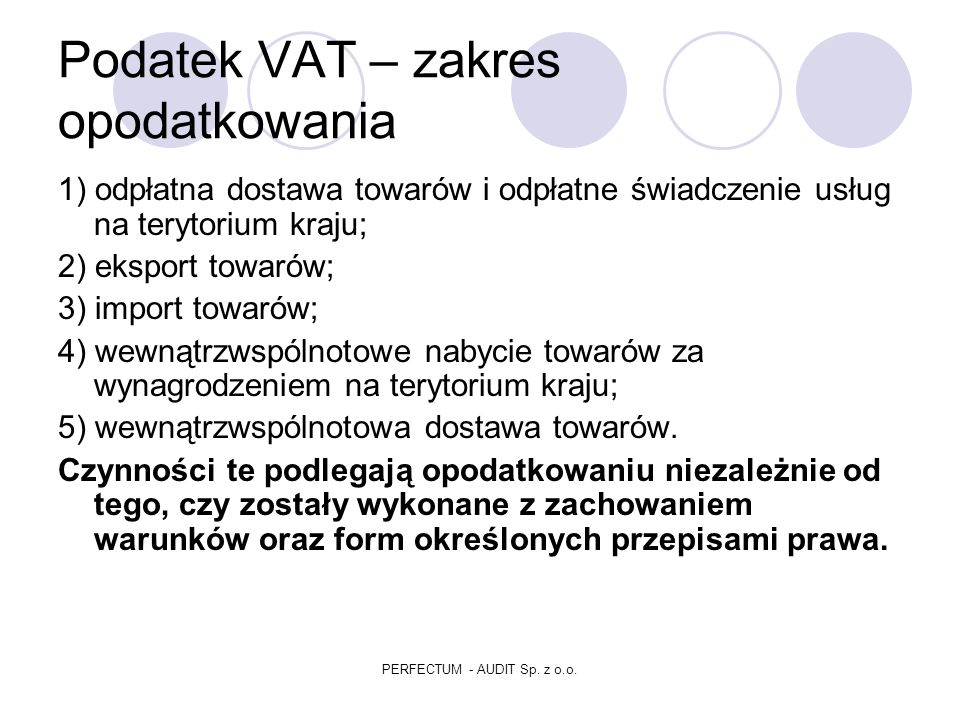 Podatek VAT – zakres opodatkowania