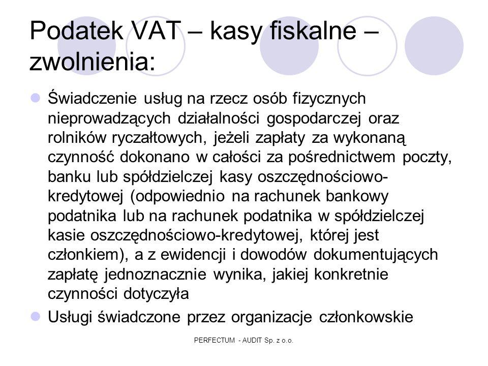 Podatek VAT – kasy fiskalne – zwolnienia: