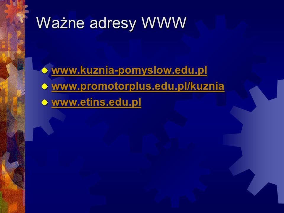 Ważne adresy WWW www.kuznia-pomyslow.edu.pl