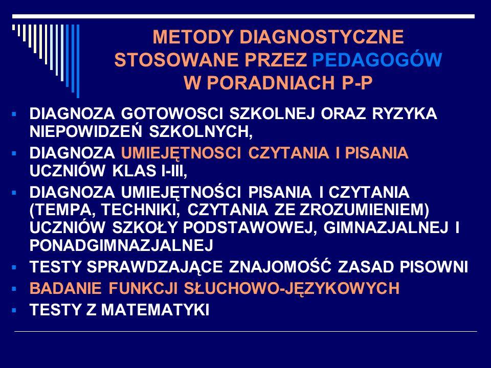 METODY DIAGNOSTYCZNE STOSOWANE PRZEZ PEDAGOGÓW W PORADNIACH P-P