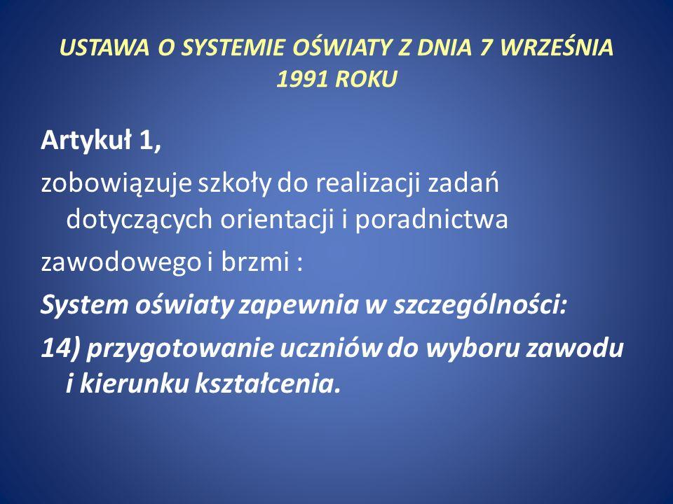 USTAWA O SYSTEMIE OŚWIATY Z DNIA 7 WRZEŚNIA 1991 ROKU