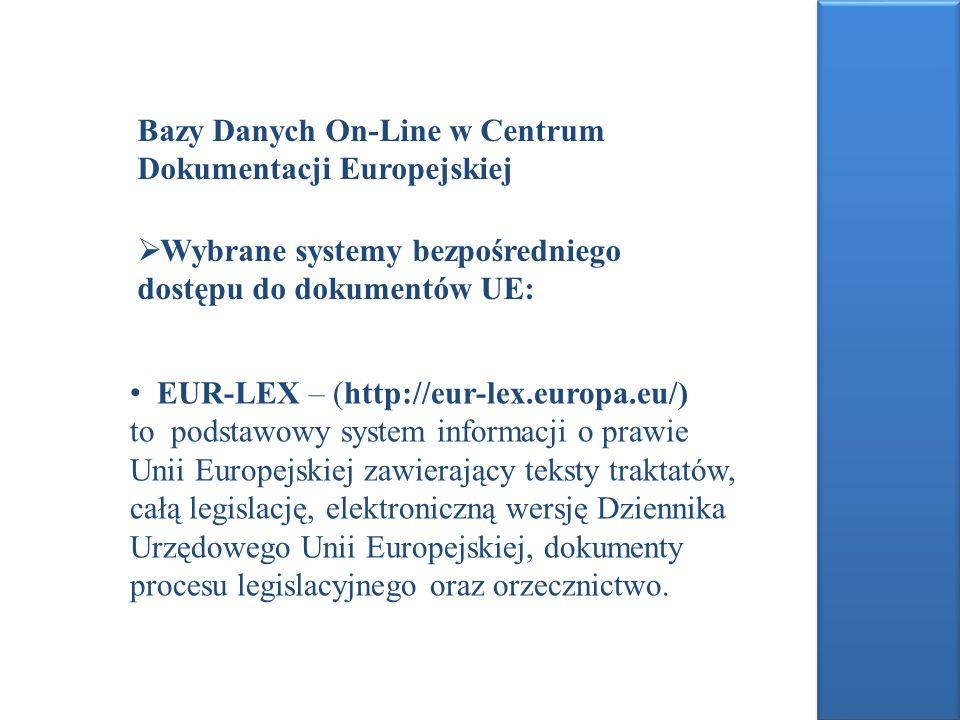 Bazy Danych On-Line w Centrum Dokumentacji Europejskiej