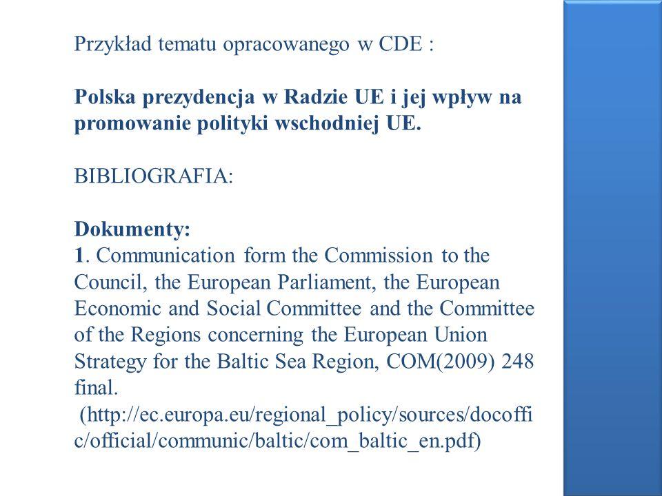 Przykład tematu opracowanego w CDE :