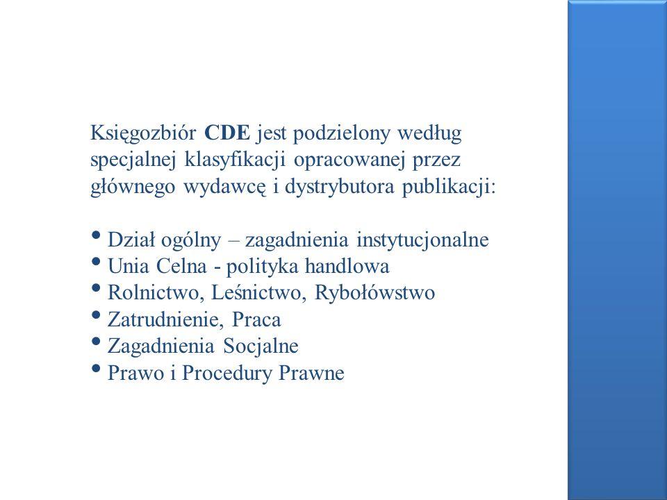 Księgozbiór CDE jest podzielony według specjalnej klasyfikacji opracowanej przez głównego wydawcę i dystrybutora publikacji: