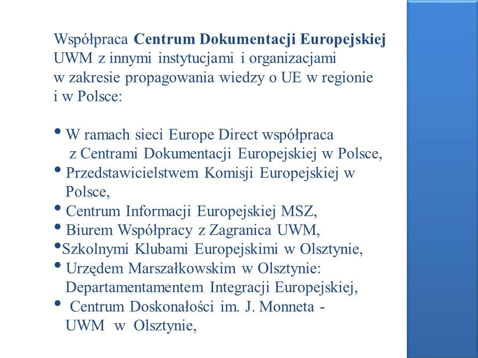 Współpraca Centrum Dokumentacji Europejskiej UWM z innymi instytucjami i organizacjami w zakresie propagowania wiedzy o UE w regionie i w Polsce: