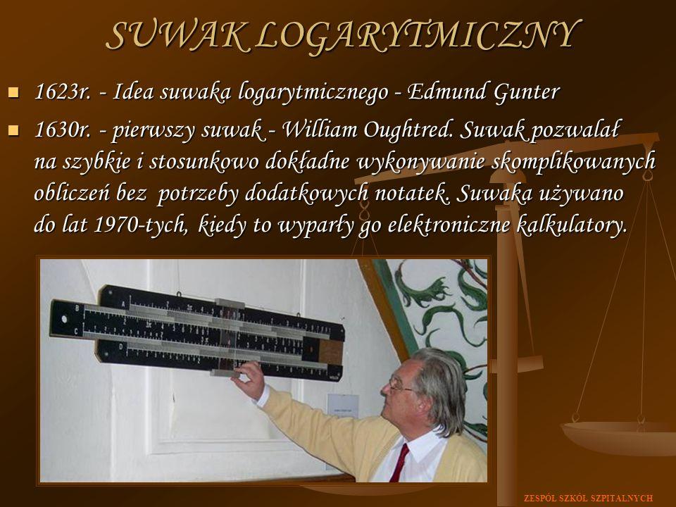 SUWAK LOGARYTMICZNY 1623r. - Idea suwaka logarytmicznego - Edmund Gunter.