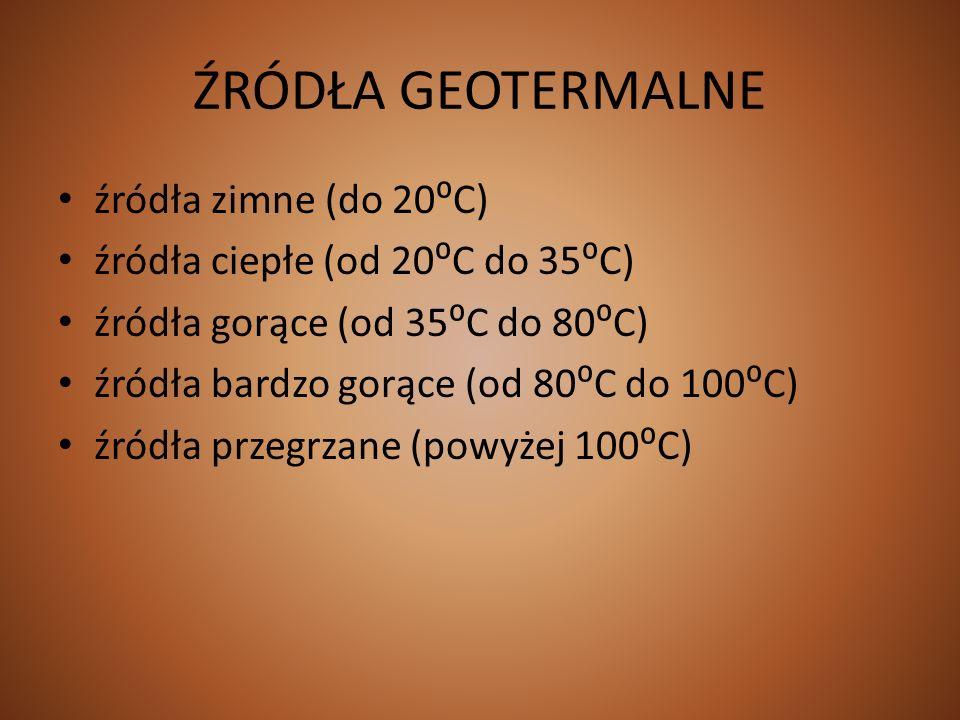 ŹRÓDŁA GEOTERMALNE źródła zimne (do 20⁰C)