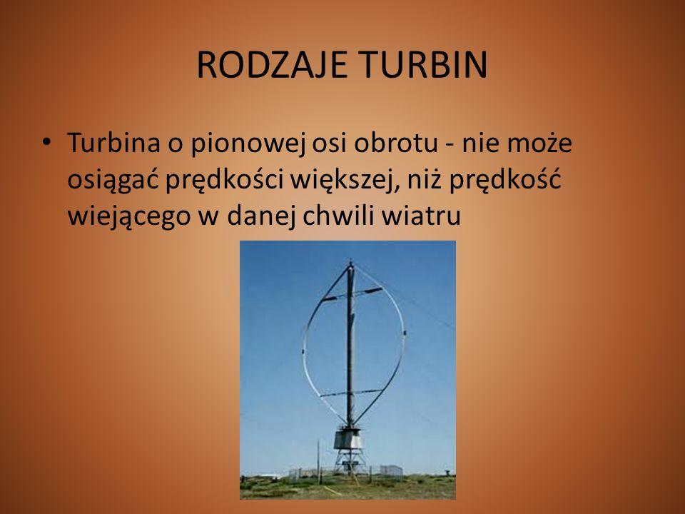 RODZAJE TURBINTurbina o pionowej osi obrotu - nie może osiągać prędkości większej, niż prędkość wiejącego w danej chwili wiatru.
