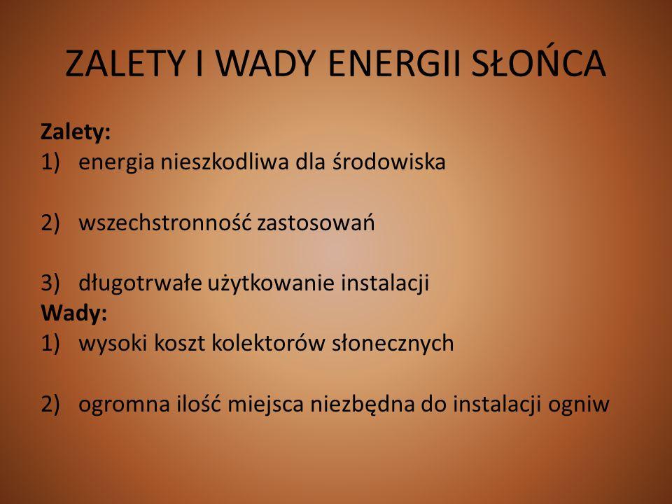 ZALETY I WADY ENERGII SŁOŃCA